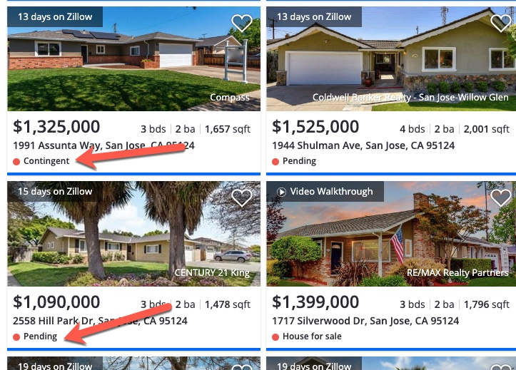 Contingent and pending houses for sale on Zillow