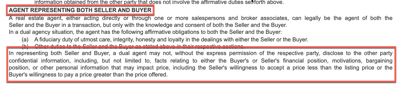 Dual agency explained in a realtor contract