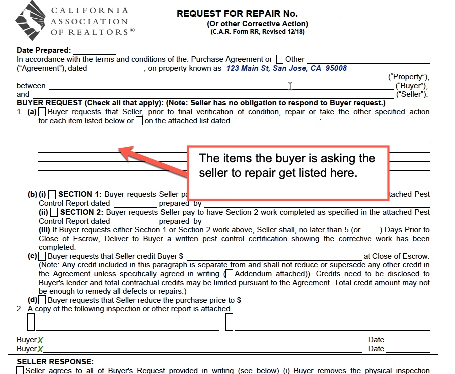 Repair requests on a purchase agreement that is contingent